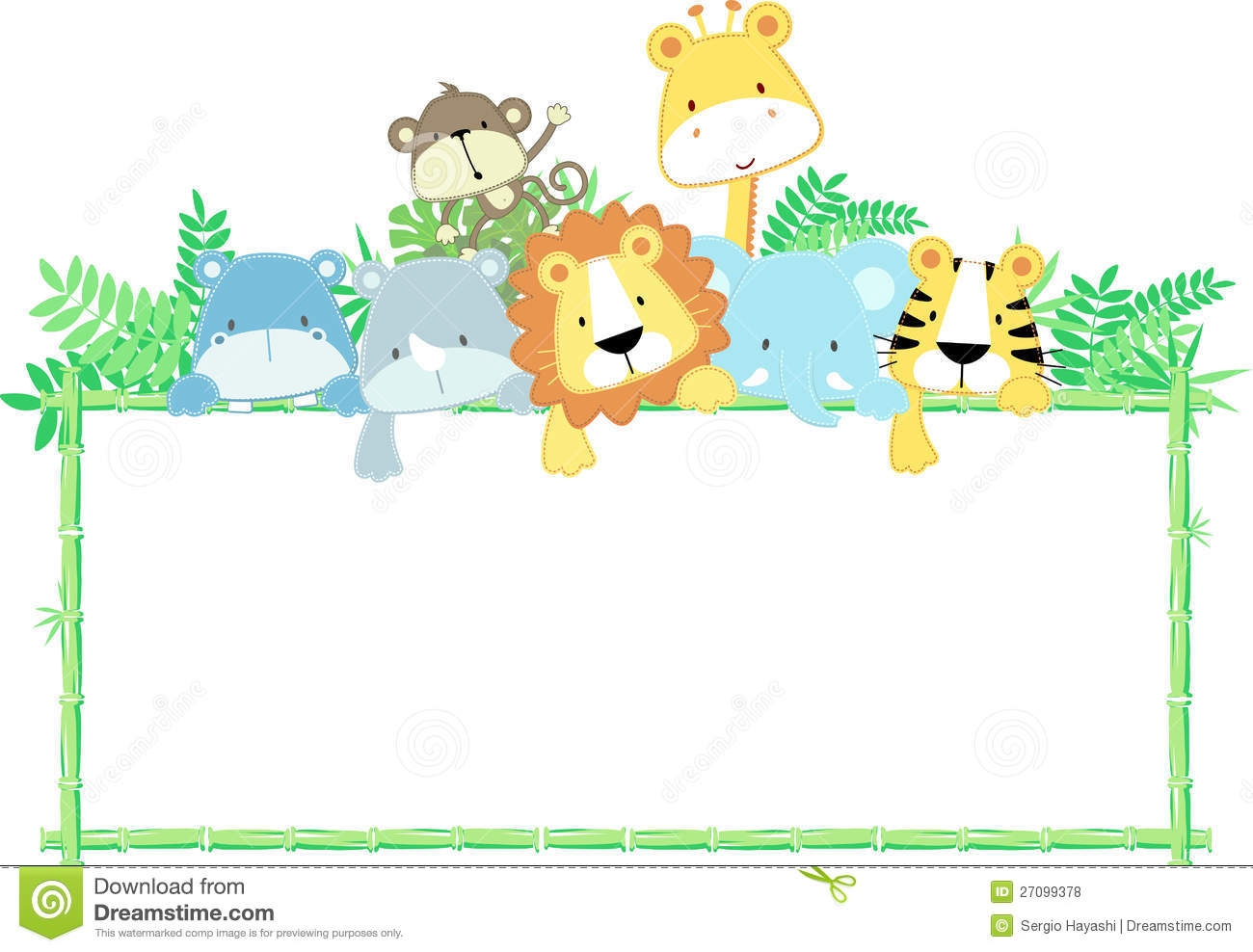 Frame clipart safari  Baby Collection Border Animals