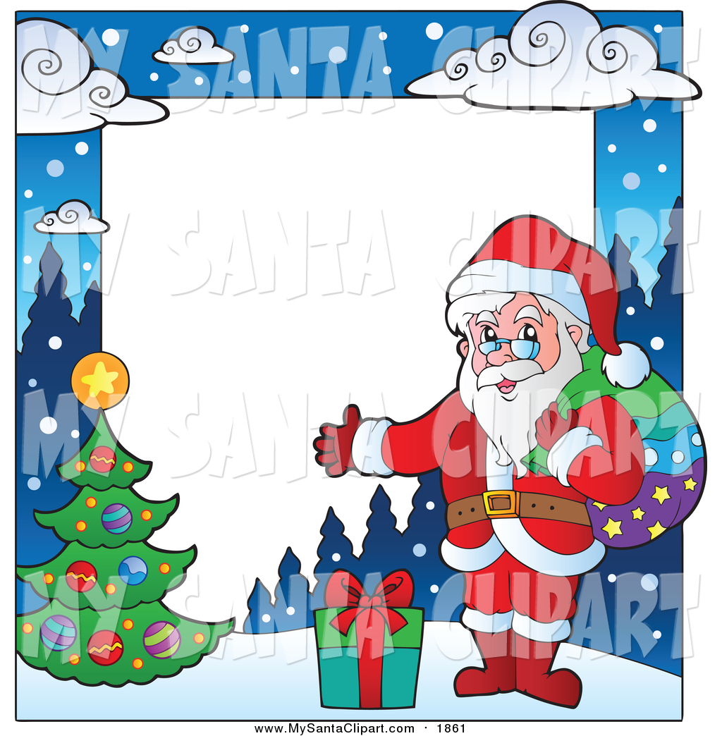 Frame clipart santa claus Clip with Copyspace a of
