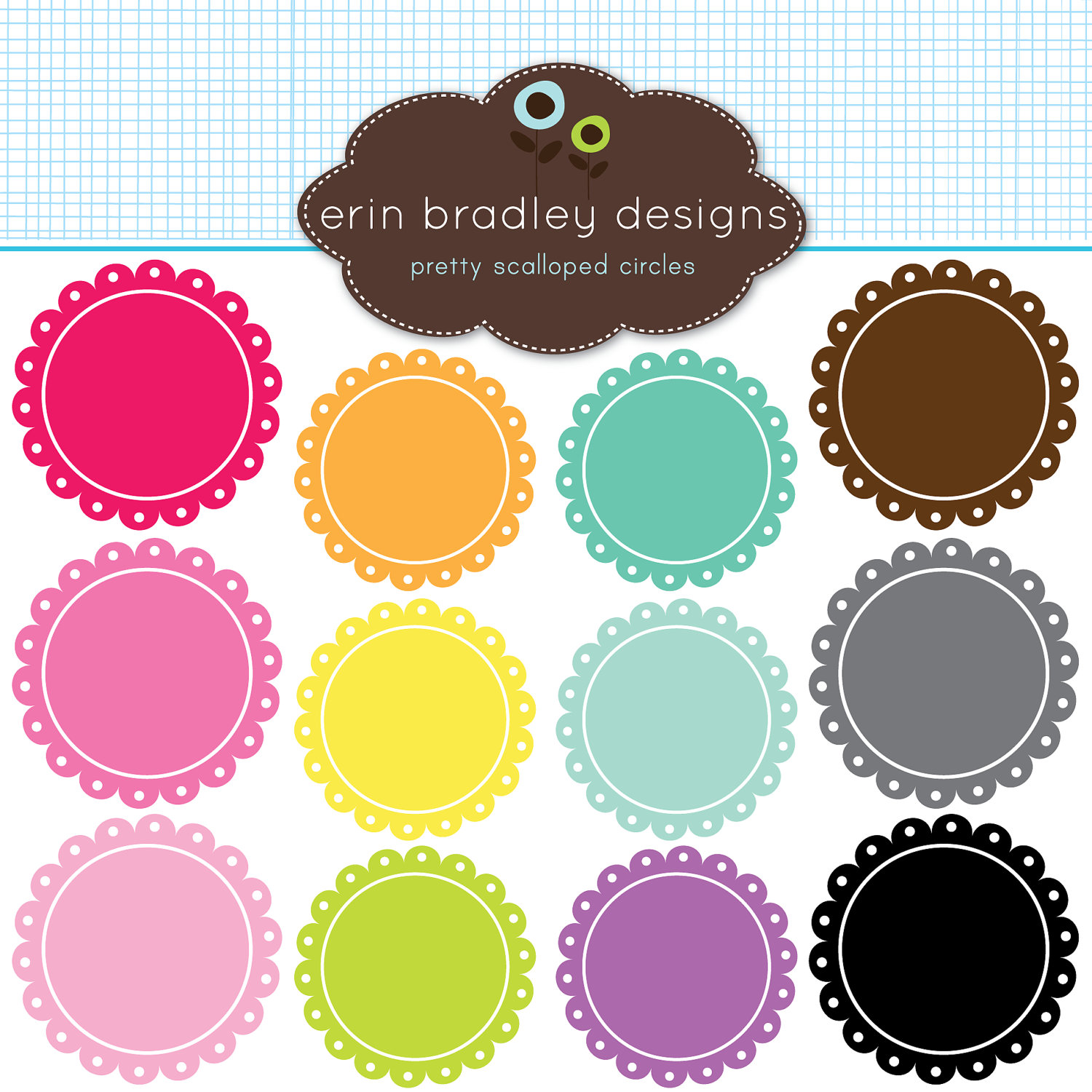 Circle clipart scalloped circle Use Art Clip Scalloped Commercial