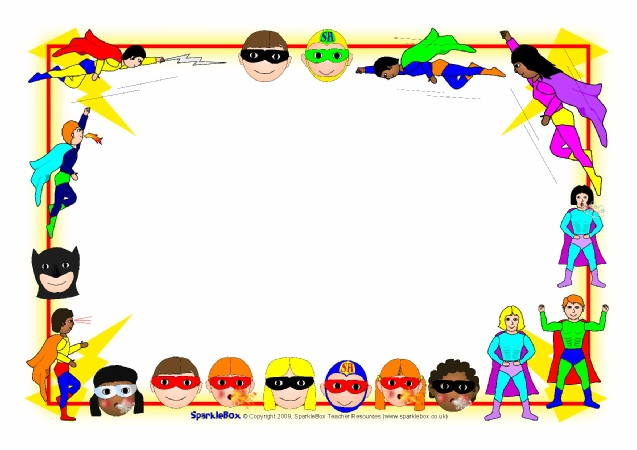 Frame clipart superhero Superhero Advertisement (SB2196) Resources SparkleBox