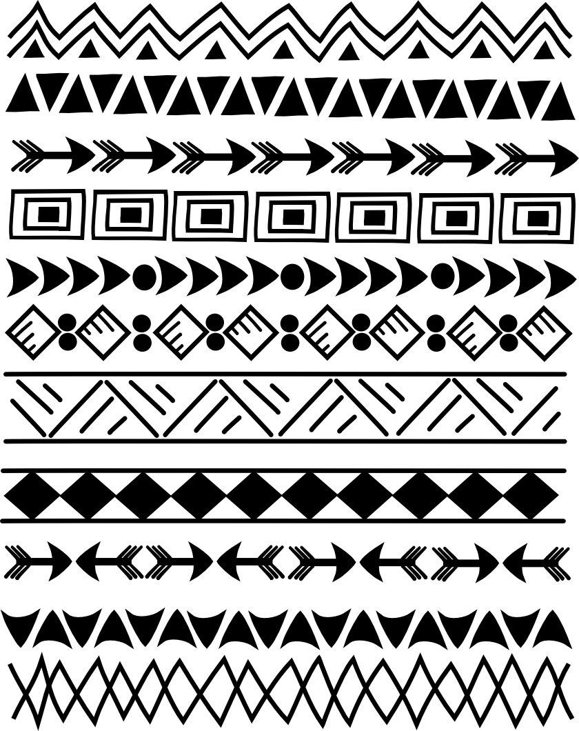 Aztec Warrior clipart border Indian Doodle Set Clip 5