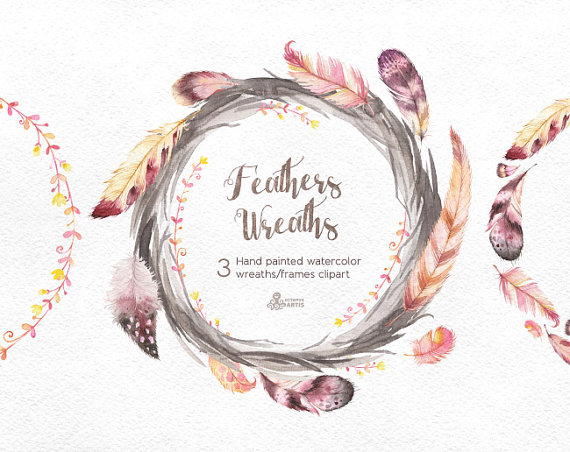 Frame clipart watercolor Wreaths watercolor  Clipart painted
