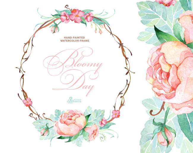 Frame clipart watercolor Wreath  greeting quotes Floral