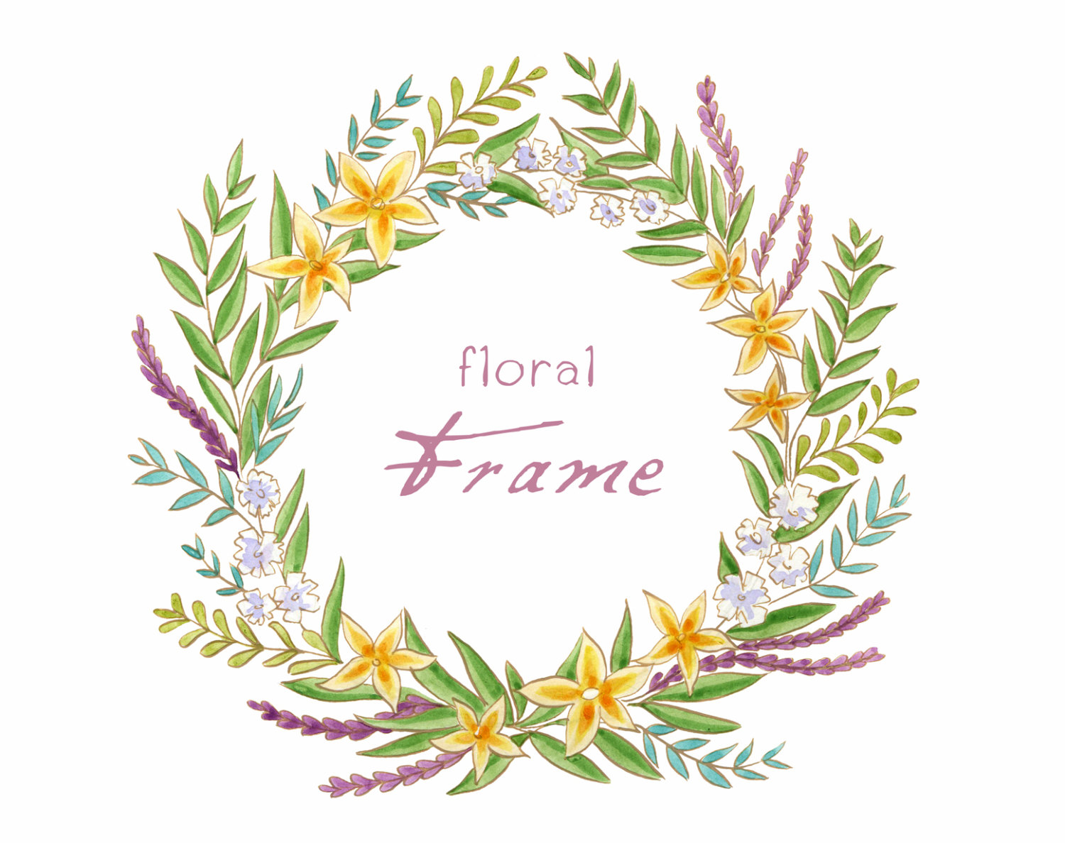 Frame clipart watercolor Watercolor on Etsy Frame Digital