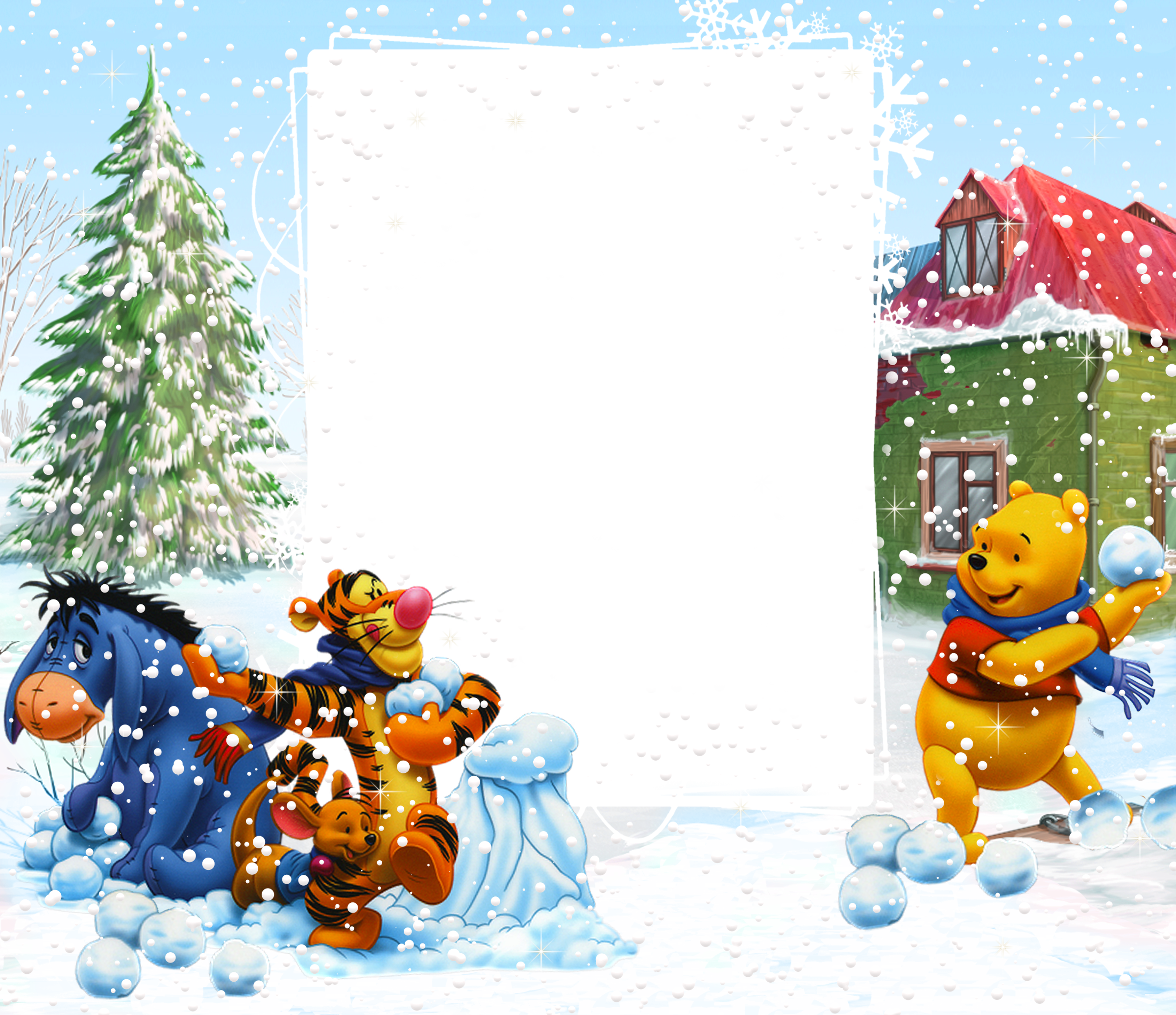 Frame clipart winter View full Yopriceville Pooh
