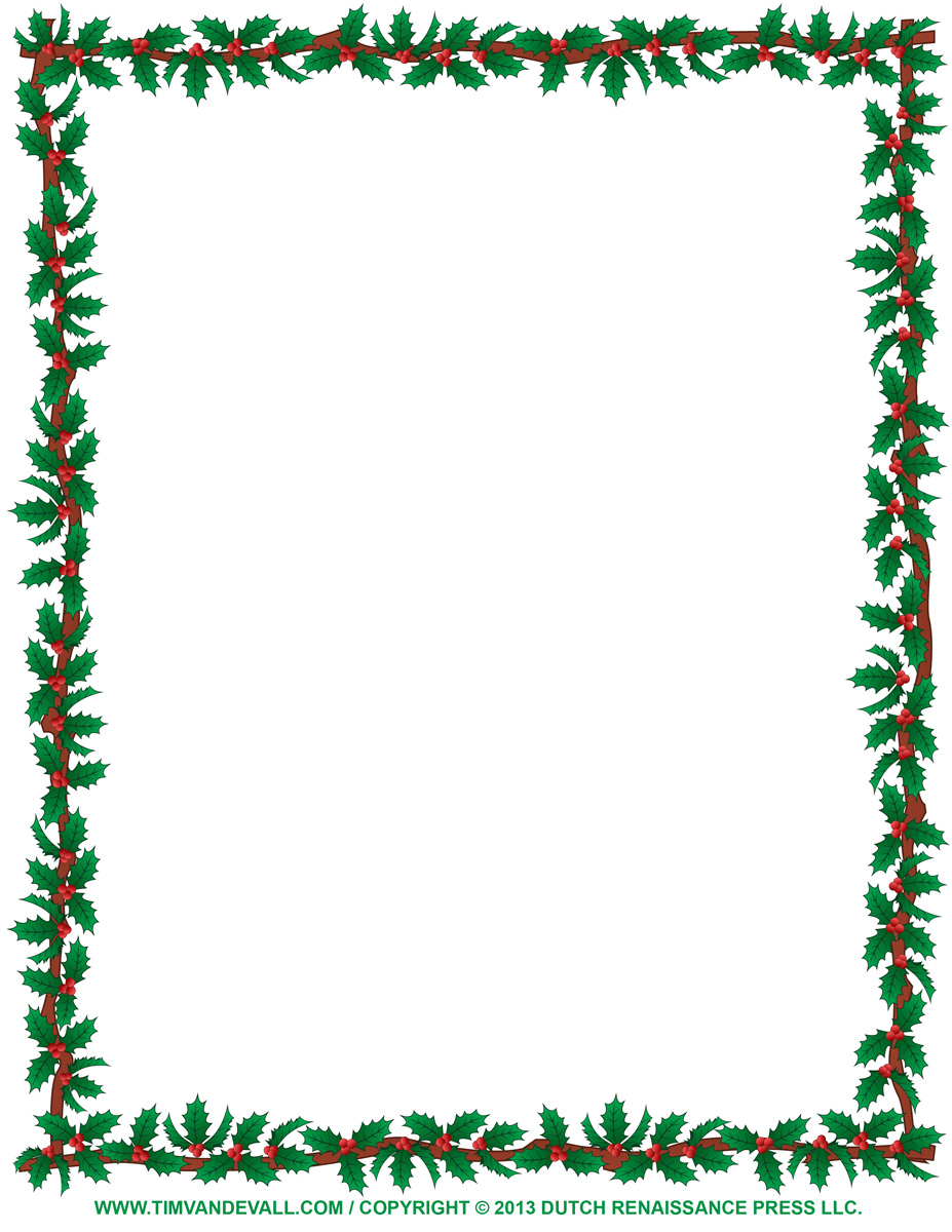 Holydays clipart boarder Christmas free Holly borders