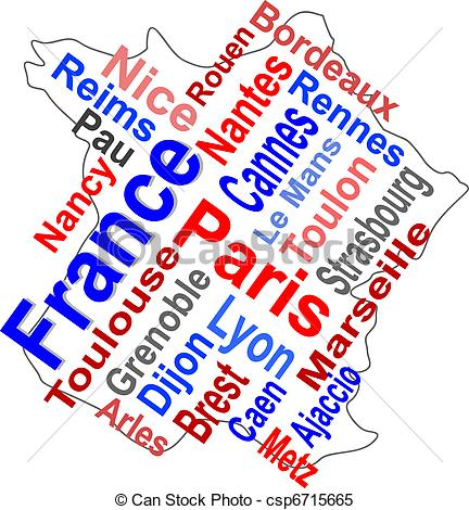 Word clipart french Larger cities France of Vector