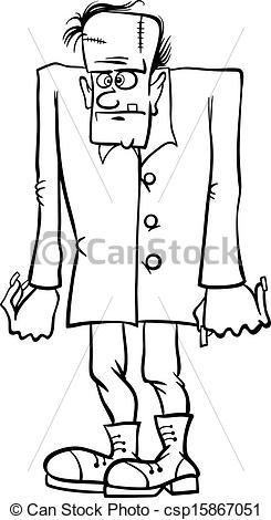 Frankenstein clipart sketch Cartoon frankenstein book Vector coloring