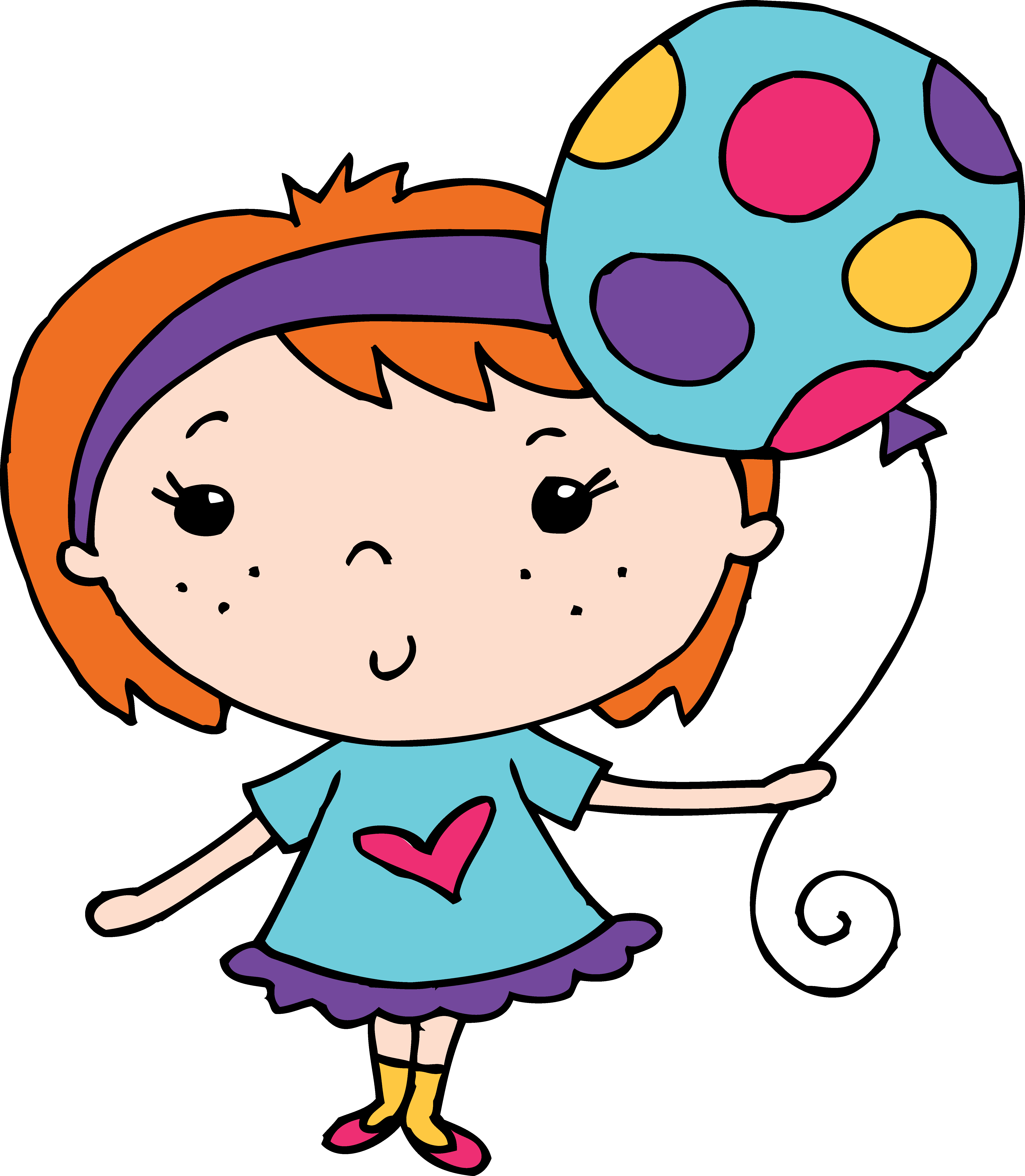 Freckles clipart Balloon a Girl Holding Free