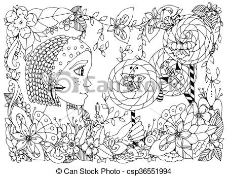 Freckles clipart black and white Doodle frame zentangl Vector with