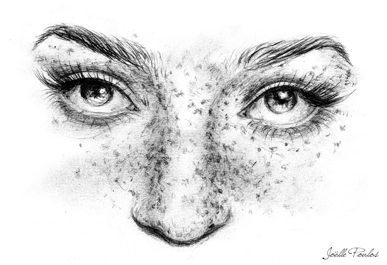 Freckles clipart black and white Joelle poulos Portrait Pencil Print