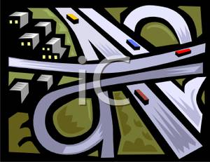 Freeway clipart road top view Royalty Interchange Free Clipart Clipart
