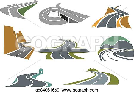 Freeway clipart journey path Icons and  transportation and