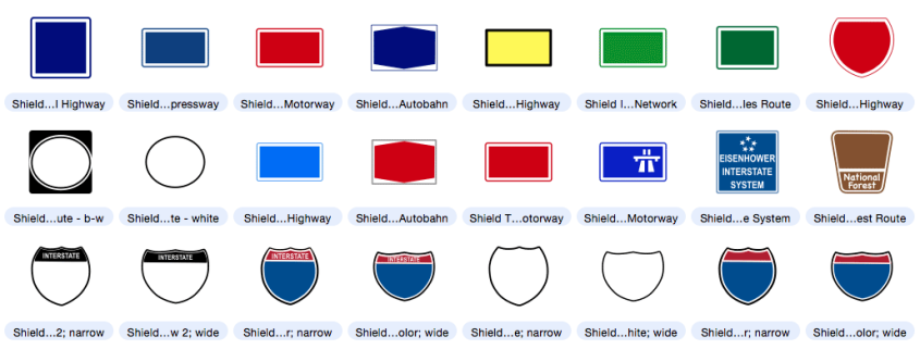 Freeway clipart road map Mapdiva with Highway Symbols Shield
