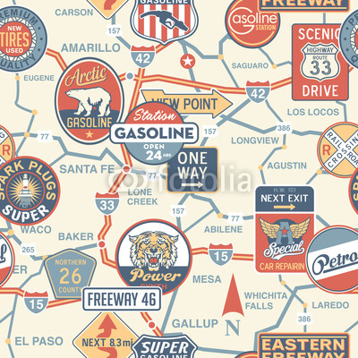 Freeway clipart road top view Vintage seamless signboards with pattern