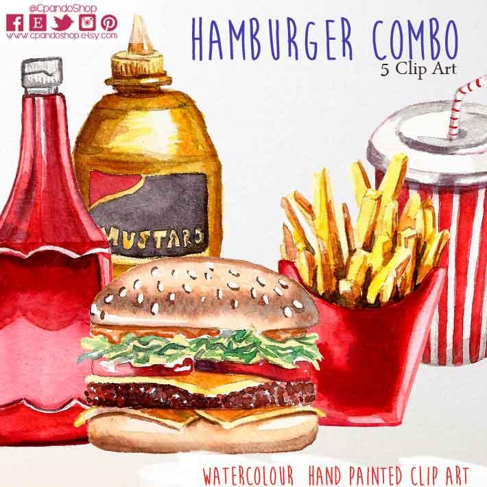 Hamburger clipart food item Png (5 dpi watercolor art