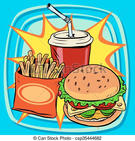 Burger clipart pop art Food retro fries art fast