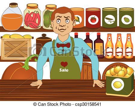 Fresh clipart grocer Shelves Fresh foods Vector