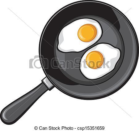 Omelette clipart hot frying pan Frying eggs of csp15351659 Vector