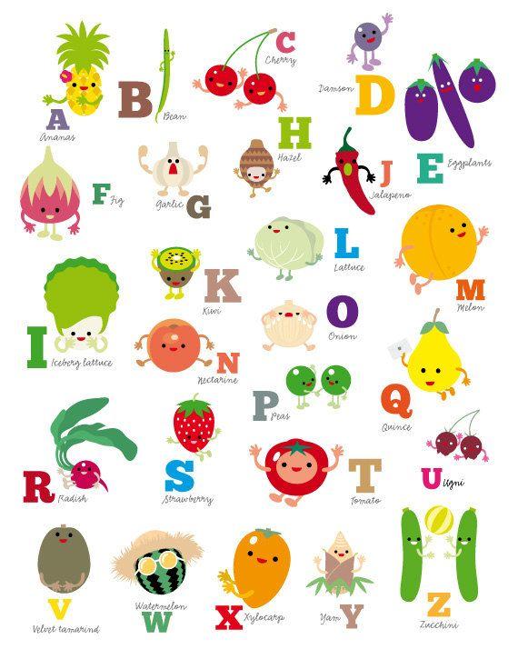 Fruits & Vegetables clipart alphabet Vegetables & on Alphabet fruit