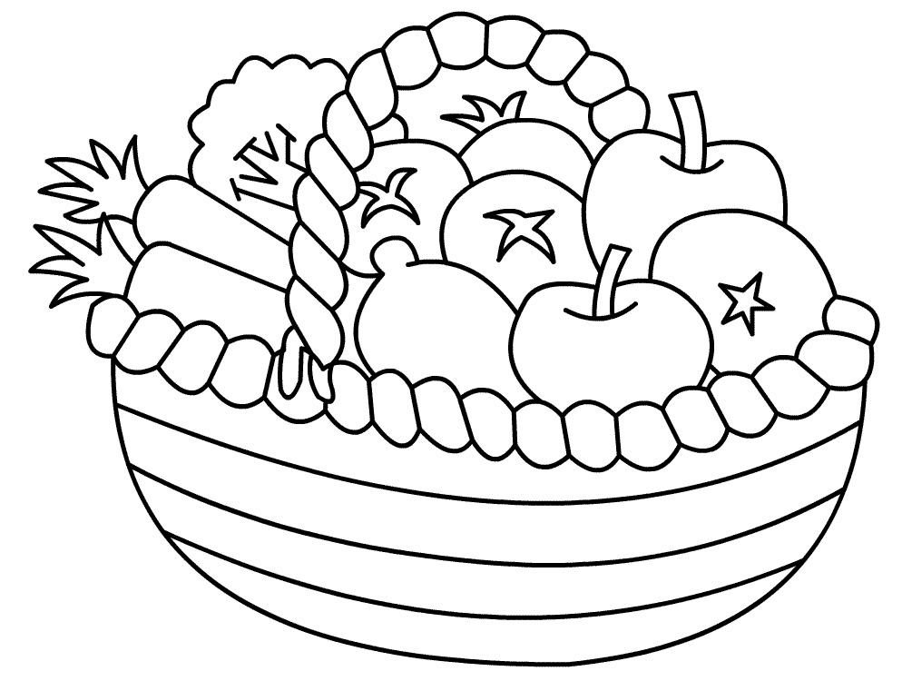 Fruits & Vegetables clipart coloring page With Fruits Tray Tray Pages