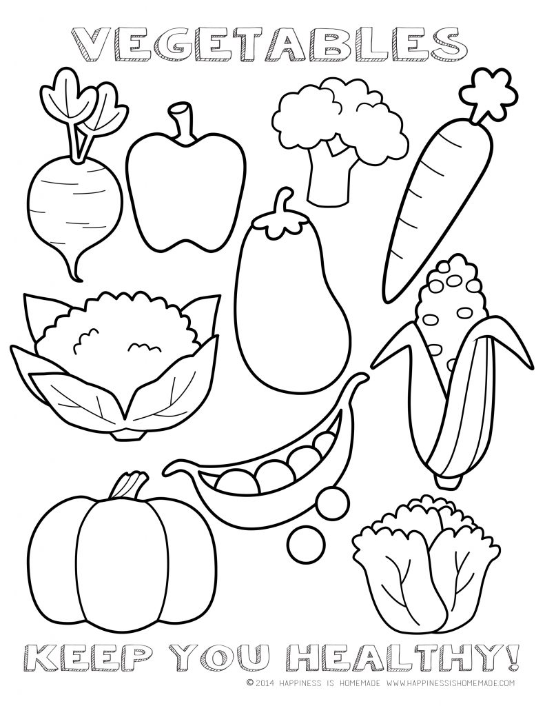 Fruits & Vegetables clipart coloring page Something children's Printable foods chart