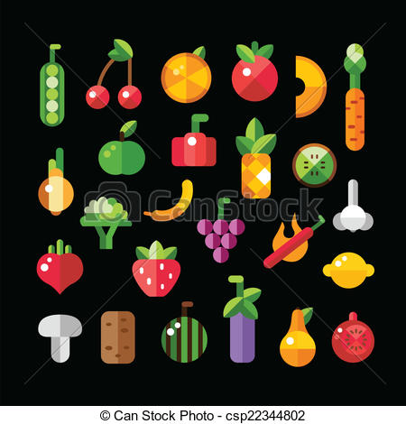 Fruits & Vegetables clipart flat design Fruits icons vegetables and flat