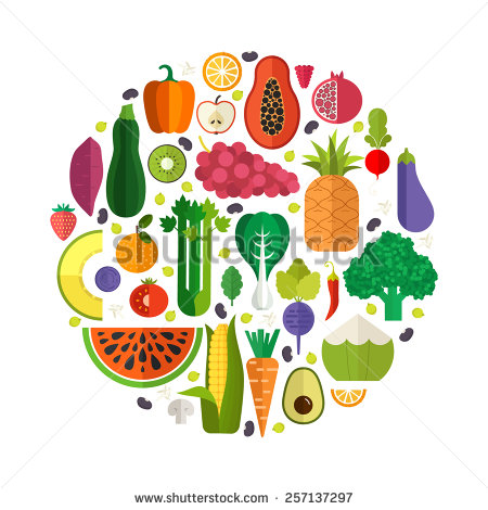 Fruits & Vegetables clipart flat design Collection vegetables and of is