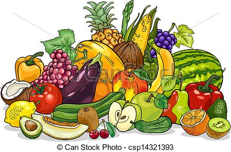 Snack clipart fruits and veggy Vegetables fruits illustration of cartoon