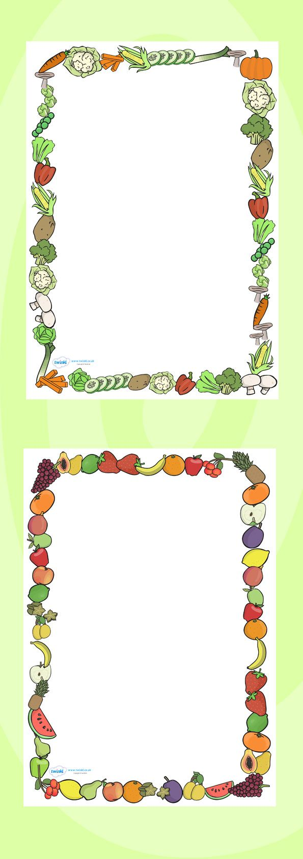 Carrot clipart frame Vegetables Themed Borders Fruits A4