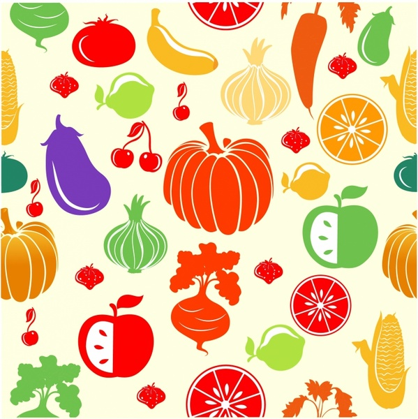 Fruits & Vegetables clipart retro And  Vegetable download vector)