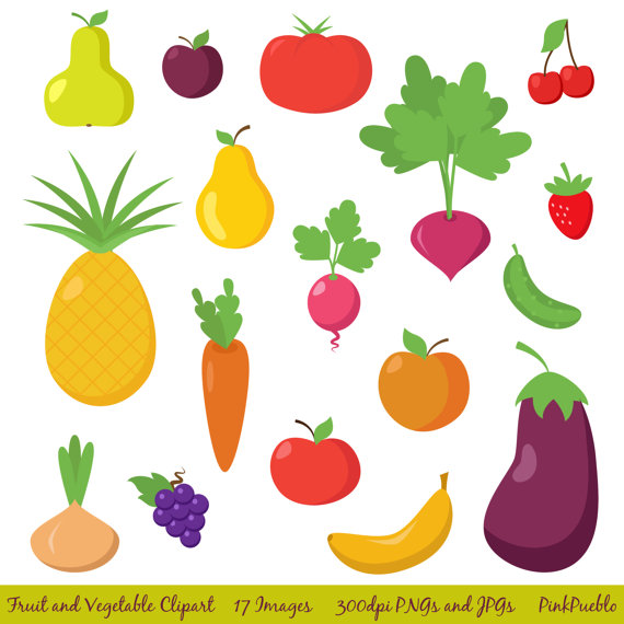 Fruits & Vegetables clipart retro And and Clip  Clipart