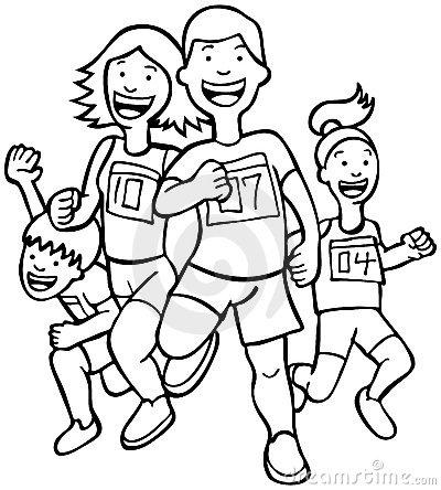 Fun clipart black and white White Runners White running Clipart