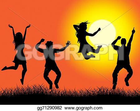 Fun clipart excitement Excitement Clipart grassland sundown green