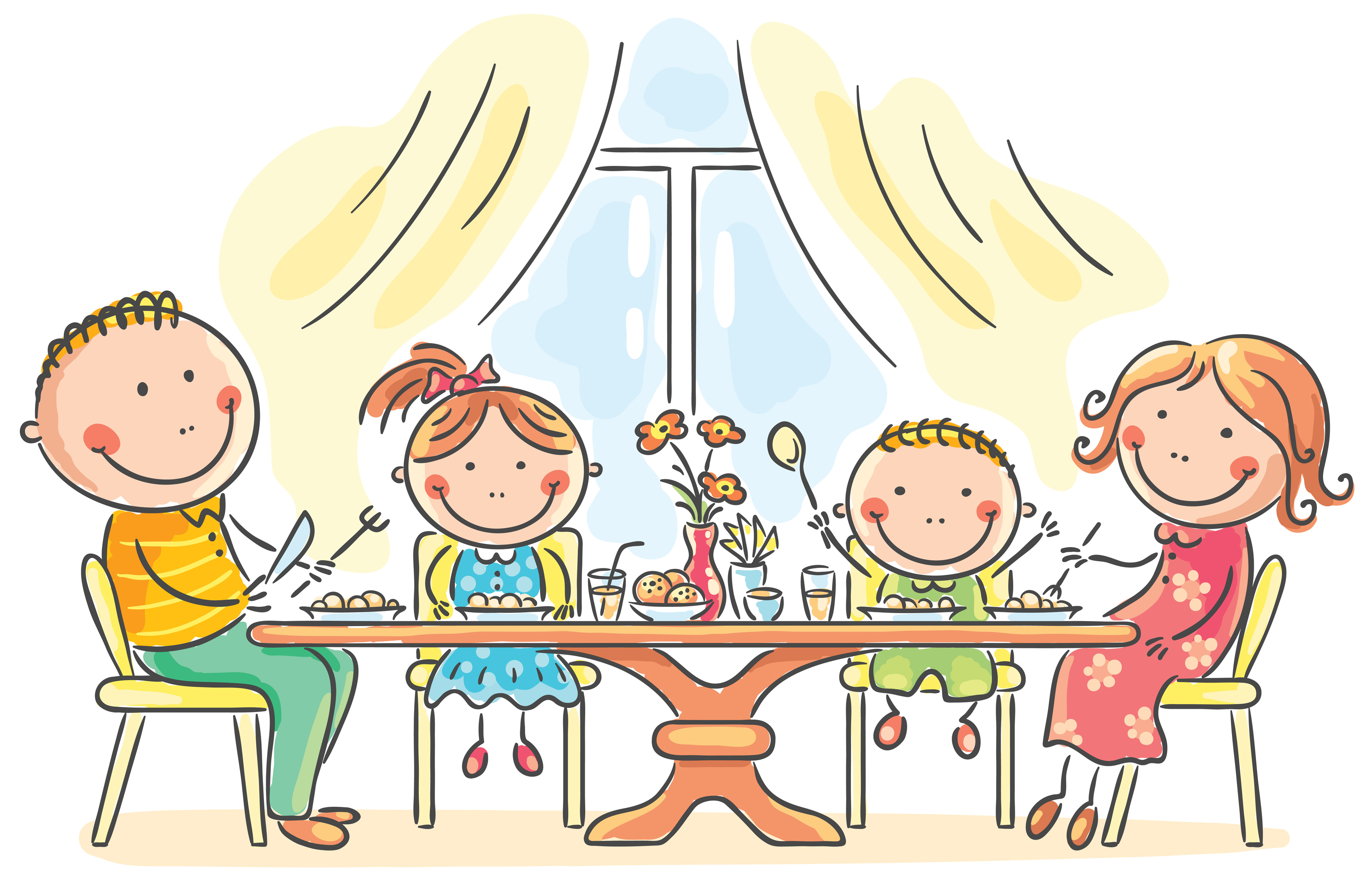 The Kitchen clipart home cooked meal Happy family Cartoon Family white