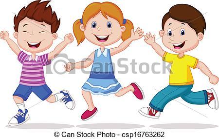 Fun clipart happy child  Vector cartoon running running