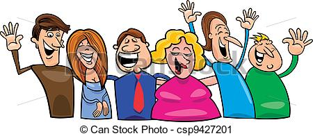 Fun clipart happy group Of happy csp9427201 illustration people