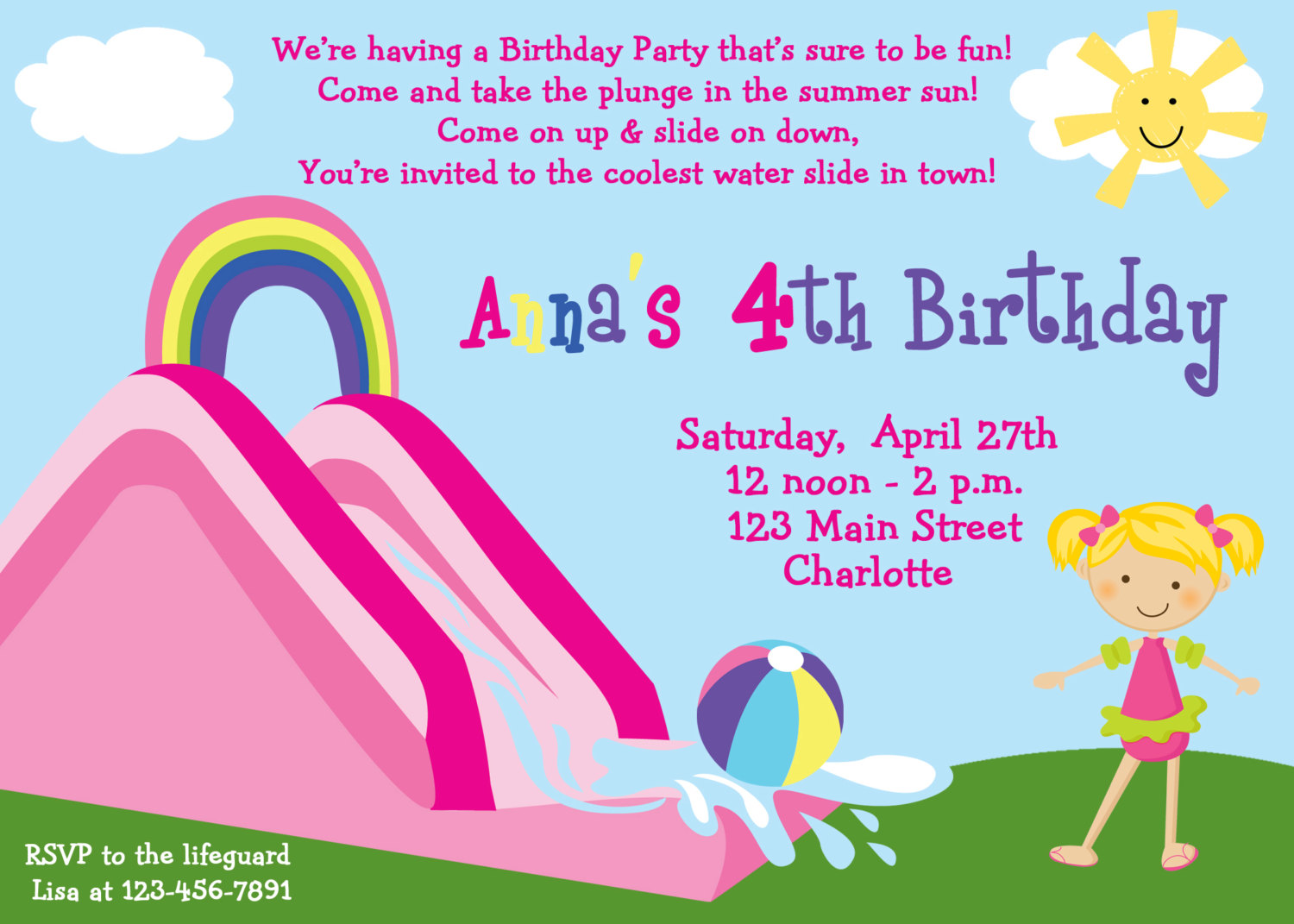 Fun clipart invited Party Slide Clipart Clipart Water