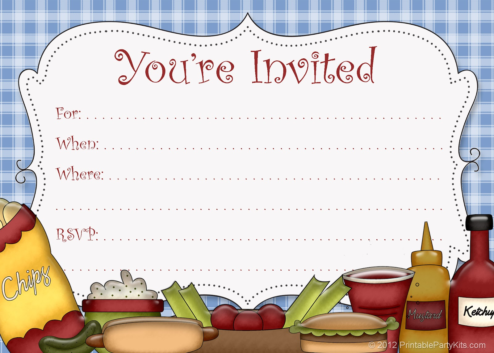 Fun clipart invited Party Party Picnic Printable Invitations: