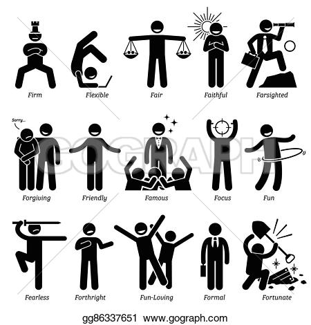 Fun clipart positive Positive Traits Vector character Character