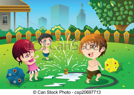 Fun clipart sprinkler Children playing the with csp20697713