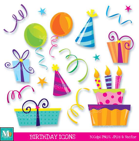 Amd clipart birthday Icons INSTANT Icons BIRTHDAY Happy