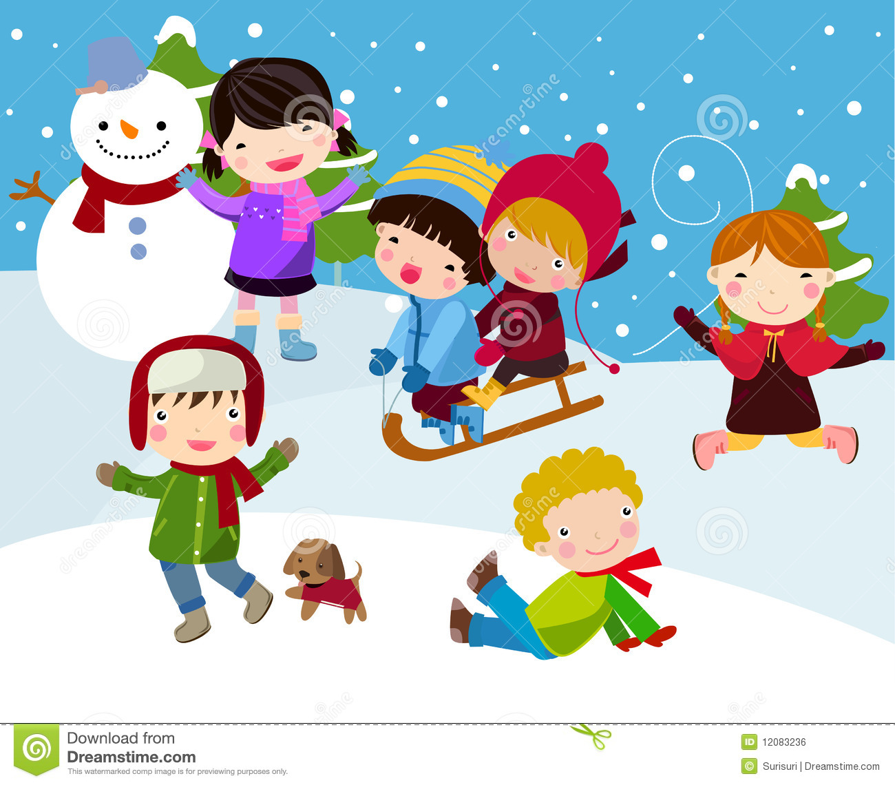 Fight clipart snow Snow Clip Playing The Kids