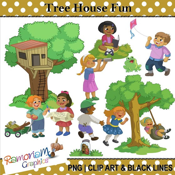 Fun clipart they Clip Outdoor Playing Children Tree