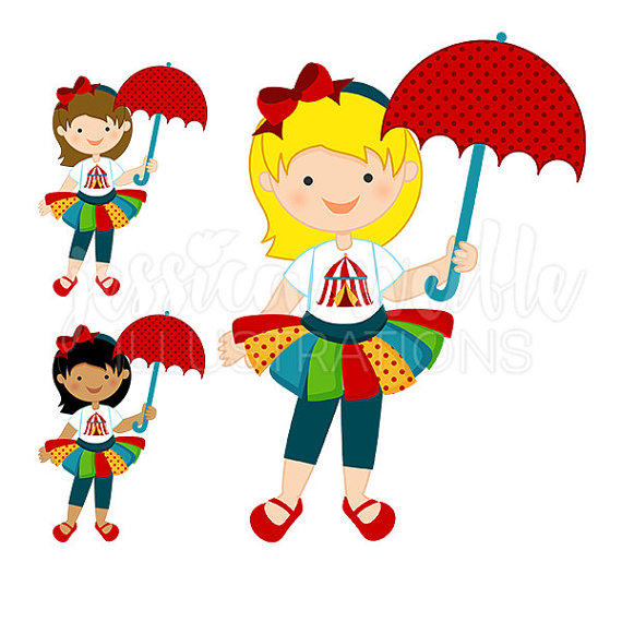 Fun Time clipart Circus Cute art Girl Digital
