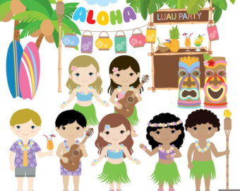 Fun Time clipart beach party Digital Time Clipart Summer Hawaii
