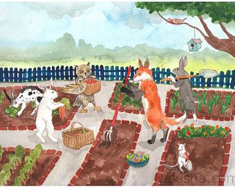 Fun Time clipart community garden Owl gardens Fox a Etsy