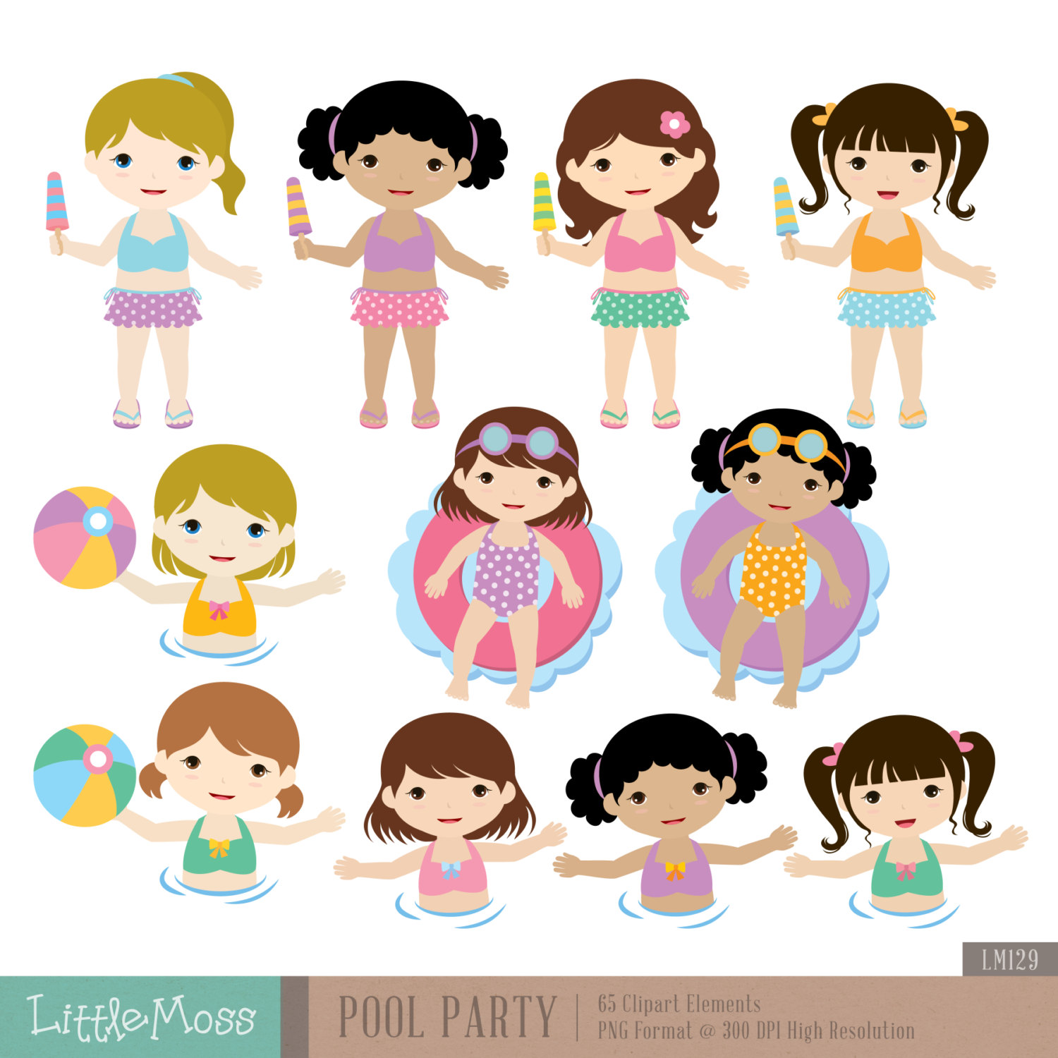 Fun Time clipart party person Studio Digital file LittleMoss from