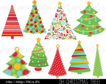 Christmas Tree clipart funky Green Digital Christmas Decorations Trees