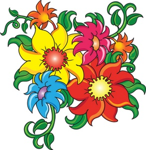 Red Flower clipart catoon #6